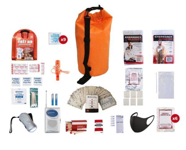 1 Person Basic Survival Kit (72+ Hours) Waterproof Dry Bag